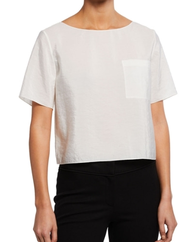 Theory Voyage Fluid Silk Pocket Tee - XS - 바로출고