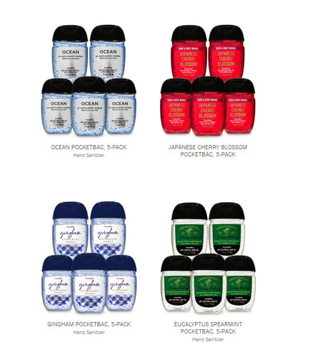 Bathandbodyworks Hand Sanitizer, 5pack x 4