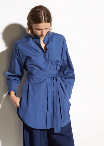 Vince Oversized Belted Shirt in Pacific - 바로출고