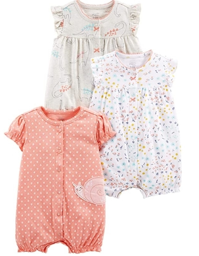 Carter's Baby Girls' 3-Pack Snap-up Rompers
